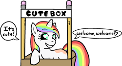 Size: 1463x790 | Tagged: safe, artist:poniidesu, oc, oc only, oc:paint drops, pony, unicorn, /mlp/, box, cute, drawthread, female, filly, heart eyes, mare, multicolored hair, ocbetes, pencil, ponified, pony in a box, rainbow hair, simple background, text, tiny, tiny ponies, transparent background, wingding eyes