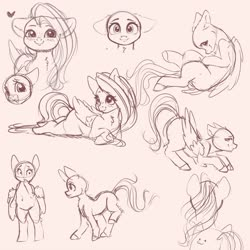 Size: 4000x4000 | Tagged: safe, artist:miokomata, fluttershy, pegasus, pony, semi-anthro, bald, blushing, chest fluff, female, floppy ears, freckles, freckleshy, heart, looking at you, mare, monochrome, neck fluff, pink background, simple background, sketch, solo, wingless