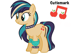 Size: 4500x3375 | Tagged: safe, artist:avatarmicheru, oc, oc:orchard serenade, earth pony, pony, choker, female, magical lesbian spawn, mare, offspring, parent:applejack, parent:coloratura, parents:rarajack, simple background, solo, spiked choker, spiked wristband, transparent background, wristband