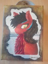 Size: 400x534   Tagged: safe, artist:hirundoarvensis, oc, pony, bust, chest fluff, female, fluffy, oil painting, solo, traditional art