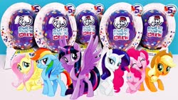 Size: 1280x720 | Tagged: safe, applejack, fluttershy, pinkie pie, rainbow dash, rarity, twilight sparkle, alicorn, pony, unicorn, capsule, confetti, cutie mark crew, eyes closed, female, mare, my little pony logo, smiling, toy, twilight sparkle (alicorn)