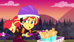 Size: 1280x731 | Tagged: safe, screencap, sunset shimmer, equestria girls, equestria girls series, sunset's backstage pass!, spoiler:eqg series (season 2), basket, bicycle, cap, churros, clock, cloud, evening, female, food, forest, hat, mountain, pipe, ride, sunset, waffle, watch