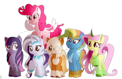 Size: 1280x825   Tagged: safe, artist:castelainmlp, applejack, fluttershy, pinkie pie, rainbow dash, rarity, twilight sparkle, earth pony, pegasus, pony, unicorn, leak, spoiler:g5, applejack (g5), colored hooves, colored horn, colored wings, earth pony twilight, female, fluttershy (g5), g5, hooves, horn, mane six, mane six (g5), mare, multicolored wings, pegasus pinkie pie, pinkie pie (g5), race swap, rainbow dash (g5), rarity (g5), redesign, simple background, smiling, tongue out, transparent background, twilight sparkle (g5), unicorn fluttershy, wings