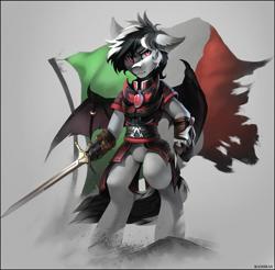 Size: 2149x2118 | Tagged: source needed, safe, artist:ramiras, oc, oc only, oc:stormdancer, bat pony, vampire, vampony, armor, assassin, assassin's creed, badass, bat pony oc, bat wings, bipedal, hidden blade, italian, italian flag, looking at you, night guard, night guard armor, red eyes, sword, sword of eden, weapon, wing ring, wings