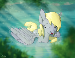 Size: 2250x1750 | Tagged: safe, artist:litrojia, derpy hooves, pegasus, pony, crepuscular rays, eyes closed, female, floating, mare, pond, relaxing, scenery, smiling, solo, spread wings, water, wet mane, wings