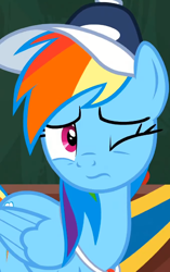 Size: 1000x1591 | Tagged: safe, screencap, rainbow dash, 2 4 6 greaaat, spoiler:s09e15, baseball cap, cap, cropped, hat, one eye closed, solo, whistle, whistle necklace, wink