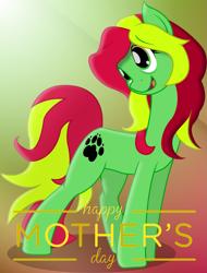 Size: 1971x2587 | Tagged: safe, artist:soulakai41, oc, oc:sweet fields, earth pony, pony, female, mare, mother's day, paw prints, solo