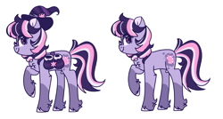 Size: 1024x547 | Tagged: safe, artist:shootingstarthepony, twilight sparkle, earth pony, pony, leak, spoiler:g5, accessories, bag, earth pony twilight, female, g5, hat, hooves, mare, multicolored hair, multicolored mane, multicolored tail, redesign, saddle bag, simple background, twilight sparkle (g5), witch