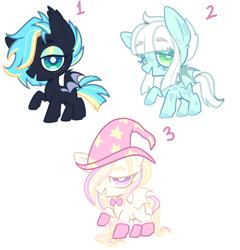 Size: 774x807 | Tagged: safe, artist:peachesandcreamated, oc, oc only, oc:electric night, oc:star card, oc:zombae, bat pony, pony, bat pony oc, colored hooves, eyebrows visible through hair, hair over one eye, hat, makeup, raised hoof, simple background, white background, wizard hat