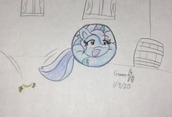 Size: 2250x1537 | Tagged: safe, artist:gmangamer25, trixie, pony, unicorn, ball, barrel, bouncing, cartoon physics, curled up, cute, diatrixes, female, happy, inanimate tf, mare, morph ball, open mouth, solo, traditional art, transformation, trixieball, unshorn fetlocks