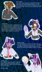 Size: 750x1280 | Tagged: safe, artist:drakky, twilight sparkle, oc, otter, unicorn, abstract background, clothes, collar, erlenmeyer flask, eye clipping through hair, female, furry oc, goggles, lab coat, male, mind control, name tag, non-mlp oc, scared, smiling, species swap, swirly eyes, transformation, transgender transformation