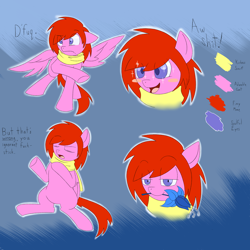 Size: 1700x1700 | Tagged: safe, artist:drakky, oc, oc only, oc:lantern shine, pegasus, pony, abstract background, bedroom eyes, blush sticker, blushing, bust, clothes, eye clipping through hair, eyes closed, flower, flower in mouth, male, mouth hold, poison joke, raised hoof, reference sheet, scarf, sitting, stallion