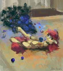 Size: 1223x1392 | Tagged: safe, artist:malinetourmaline, roseluck, pony, behaving like a cat, christmas, christmas ornament, christmas tree, collar, cute, decoration, holiday, on back, pet tag, pony pet, tree