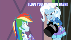 Size: 1914x1080 | Tagged: safe, edit, edited screencap, screencap, rainbow dash, trixie, equestria girls, equestria girls series, sock it to me, spoiler:eqg series (season 2), confession, female, lesbian, meme, shipping, trixdash