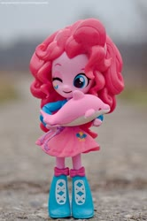 Size: 1024x1544 | Tagged: safe, artist:artofmagicpoland, pinkie pie, dolphin, equestria girls, clothes, cute, diapinkes, doll, equestria girls minis, eqventures of the minis, holding, looking at you, photo, photography, skirt, smiling, solo, still life, toy