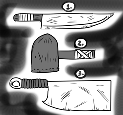 Size: 640x600 | Tagged: safe, artist:ficficponyfic, oc, barely pony related, butcher knife, clothes, curved blade, cyoa, cyoa:madness in mournthread, hammer, knife, line-up, monochrome, mystery, part of a series, part of a set, story included, tools, weapon