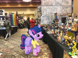 Size: 4032x3024 | Tagged: safe, photographer:undeadponysoldier, twilight sparkle, alicorn, human, pony, angry, augmented reality, clothes, cosplay, costume, dealer room, female, gameloft, gay pride flag, ichibancon, irl, irl human, mare, minifigs, photo, ponies in real life, pride, pride flag, twilight sparkle (alicorn)