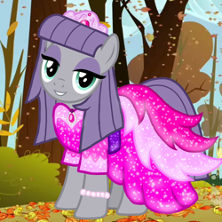 Size: 1000x1000 | Tagged: safe, artist:cheezedoodle96, artist:katya, edit, maud pie, autumn, clothes, dress, glow, leaves, solo, sparkles, tree