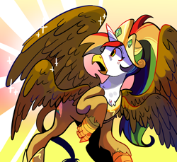 Size: 1280x1170 | Tagged: safe, artist:milky-rabbit, oc, oc:rainbow feather, griffon, hippogriff, crown, four wings, grifficorn, griffon oc, interspecies offspring, jewelry, magical lesbian spawn, multicolored hair, multiple wings, next generation, offspring, parent:gilda, parent:rainbow dash, parents:gildash, princess, regalia, solo, transformation, wings