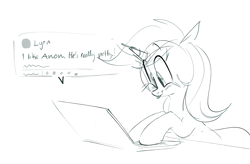 Size: 1911x1251 | Tagged: safe, artist:hattsy, edit, lyra heartstrings, pony, unicorn, blushing, computer, cute, female, implied anon, laptop computer, lyrabetes, mare, monochrome, simple background, solo, text, tongue out, white background