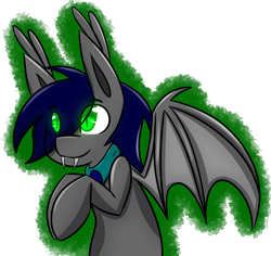 Size: 2319x2189 | Tagged: safe, artist:askhypnoswirl, oc, oc only, oc:waterpony, bat pony, bandana, fangs, simple background, smiling, sneaking, solo, transparent background