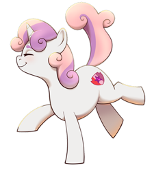 Size: 1024x1140 | Tagged: safe, artist:petalierre, sweetie belle, pony, unicorn, cute, diasweetes, eyes closed, female, filly, profile, simple background, smiling, solo, transparent background