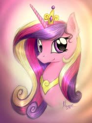 Size: 1200x1592 | Tagged: dead source, safe, artist:theflyingmagpie, princess cadance, pony, bust, crown, cute, cutedance, ear fluff, female, jewelry, mare, portrait, regalia, solo