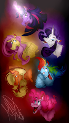 Size: 1835x3269 | Tagged: safe, artist:pob-dawg, applejack, fluttershy, pinkie pie, rainbow dash, rarity, twilight sparkle, earth pony, pegasus, pony, unicorn, abstract background, bust, cartoony, chin fluff, curved horn, facial hair, faic, feather, female, fluffy, glowing horn, hoers, horn, looking at you, mane six, mare, open mouth, stylized