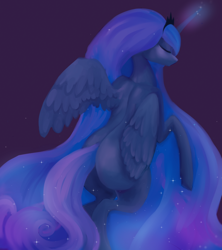 Size: 1200x1350 | Tagged: safe, artist:minckies, princess luna, alicorn, pony, butt, crown, cute, eyes closed, female, glowing horn, horn, jewelry, lunabetes, mare, missing accessory, missing cutie mark, plot, purple background, rearing, regalia, simple background, solo, speedpaint available, spread wings, wings