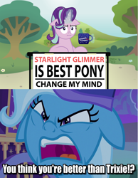 Size: 2552x3296 | Tagged: safe, edit, edited screencap, screencap, starlight glimmer, trixie, marks for effort, to where and back again, floppy ears, meme, trixie's wagon