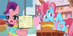 Size: 1900x940 | Tagged: safe, edit, edited screencap, screencap, cup cake, spoiled rich, student counsel, the perfect pear, boomerang (tv channel), female, heart, infidelity, lesbian, shipping, shipping domino, spoiledcake