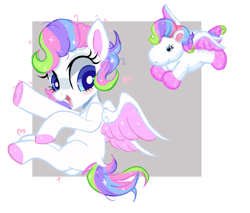 Size: 1137x967   Tagged: safe, artist:peachesandcreamated, oc, oc only, pegasus, pony, abstract background, blush sticker, blushing, colored hooves, multicolored hair, rainbow hair, sitting, smiling