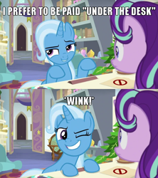 Size: 640x720 | Tagged: safe, edit, edited screencap, screencap, phyllis, starlight glimmer, trixie, pony, unicorn, a horse shoe-in, spoiler:s09e20, caption, comic, female, globe, image macro, implied cunnilingus, implied oral, implied sex, innuendo, lesbian, mare, meme, one eye closed, school of friendship, screencap comic, shipping, starlight's office, startrix, text, wink