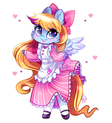 Size: 900x990 | Tagged: safe, artist:ipun, oc, oc only, oc:ribbon love, anthro, pegasus, unguligrade anthro, anthro oc, apron, arm hooves, bow, chibi, clothes, dress, female, hair bow, heart, maid, mare, shoes, simple background, socks, solo, transparent background