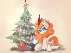 Size: 4000x3000 | Tagged: safe, artist:emerald-light, applejack, fluttershy, pinkie pie, rainbow dash, rarity, twilight sparkle, oc, oc:rain dew, kirin, bill cipher, christmas, christmas lights, christmas ornament, christmas tree, decoration, gravity falls, holiday, kirin oc, kneeling, mane six, not autumn blaze, solo, tree