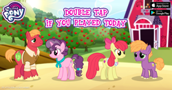 Size: 960x504 | Tagged: safe, apple bloom, big macintosh, little mac, sugar belle, the last problem, spoiler:s09e26, apple, barn, collar, colt, facebook, female, food, freckles, game, gameloft, male, mare, my little pony logo, older, older apple bloom, older big macintosh, older sugar belle, ribbon, scrunchie, stallion, sweet apple acres, tree
