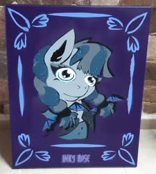 Size: 1852x2061 | Tagged: safe, artist:khaki-cap, inky rose, pegasus, pony, background pony, canvas, frame, goth, gothic, graffiti, text