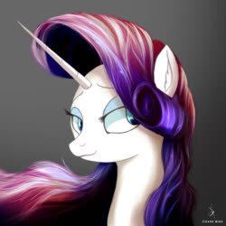 Size: 720x720 | Tagged: safe, artist:zidanemina, rarity, pony, unicorn, female, horn, mare, quickie, remastered, sharp horn, simple background, solo, wavy mouth, white background
