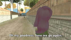 Size: 1600x900 | Tagged: safe, fluttershy, equestria girls, ah shit here we go again, caption, crossover, grand theft auto, gta san andreas, image macro, meme, solo, subtitles, text