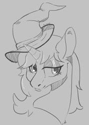 Size: 1750x2450 | Tagged: safe, artist:slimeprnicess, oc, oc only, oc:moonlit silver, pony, unicorn, black and white, bust, female, gray background, grayscale, hat, mare, monochrome, request, signature, simple background, solo, wizard hat