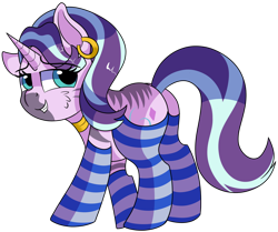Size: 1280x1069 | Tagged: safe, artist:rainbowtashie, starlight glimmer, zecora, oc, oc:voodoo charms, pony, unicorn, zebra, adorable face, clothes, commissioner:bigonionbean, cute, cutie mark, ear piercing, earring, fusion, fusion:voodoo charms, jewelry, piercing, seductive pose, socks, solo, striped socks, sultry pose, writer:bigonionbean, zebra stripes