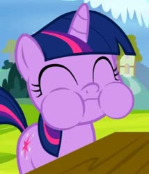 Size: 613x716 | Tagged: safe, screencap, twilight sparkle, pony, unicorn, sparkle's seven, spoiler:s09e04, apple, aweeg*, cropped, cute, eating, female, filly, filly twilight sparkle, food, happy, puffy cheeks, twiabetes, unicorn twilight, younger