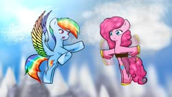 Size: 1920x1080 | Tagged: safe, artist:bloodtoon, pinkie pie, rainbow dash, pegasus, pony, leak, spoiler:g5, colored wings, female, flying, g5, mare, multicolored wings, pegasus pinkie pie, pinkie being pinkie, pinkie physics, pinkie pie (g5), race swap, rainbow dash (g5), rainbow wings, redesign, sky, wings