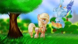 Size: 1920x1080 | Tagged: safe, artist:bloodtoon, applejack, rainbow dash, earth pony, pegasus, pony, leak, spoiler:g5, amused, applejack (g5), colored wings, female, flying, g5, grass, mare, rainbow dash (g5), redesign, tree, unamused, upside down, wings