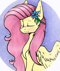 Size: 1205x1431 | Tagged: safe, artist:kim0508, fluttershy, pegasus, pony, abstract background, bust, eyes closed, female, flower, flower in hair, hair accessory, mare, portrait, solo, spread wings, three quarter view, wings