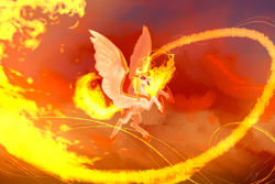 Size: 1800x1200 | Tagged: safe, artist:гусь, daybreaker, princess celestia, alicorn, pony, armor, female, fire, flying, mane of fire, mare, open mouth, solo, wings