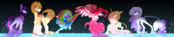 Size: 5600x1200 | Tagged: safe, artist:frairlight, applejack, fluttershy, pinkie pie, rainbow dash, rarity, twilight sparkle, earth pony, pegasus, pony, unicorn, applejack (g5), colored wings, earth pony twilight, female, fluttershy (g5), g5, g5 concept leak style, hooves, leonine tail, mane six, mane six (g5), mare, multicolored wings, pegasus pinkie pie, pinkie pie (g5), race swap, rainbow dash (g5), rainbow wings, rarity (g5), redesign, simple background, twilight sparkle (g5), unicorn fluttershy, wings