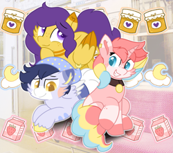 Size: 1469x1300 | Tagged: safe, artist:rainbow eevee, oc, oc only, oc:honeybloom (rigbythememe), oc:milky (rigbythememe), oc:sleepycloud (rigbythememe), pegasus, pony, unicorn, aesthetic, art trade, collar, colored pupils, cute, cutie mark, cutie mark background, eyebrows visible through hair, female, folded wings, freckles, group, hat, jewelry, lidded eyes, looking at you, male, necklace, pattern, pegasus oc, piercing, sitting, sleepy, smiling, thinking, train, unicorn oc, wings