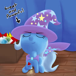 Size: 1920x1920 | Tagged: safe, artist:stellardust, derpibooru exclusive, trixie, pony, unicorn, box, clothes, curtains, eyes closed, female, fireworks, hat, holding, mare, sitting, smiling, solo, stage