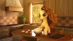 Size: 3840x2160   Tagged: safe, artist:etherium-apex, oc, oc:cookie dough, pony, unicorn, 3d, blender, bowl, female, mare, solo